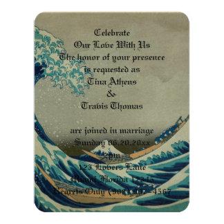 """Arte Great_Wave_off_Kanagawa del mar del agua del Invitación 4.25"""" X 5.5"""""""