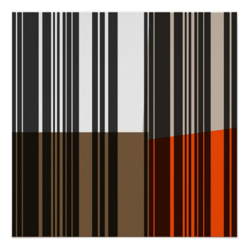 Arte gris blanco anaranjado de las rayas negras de póster