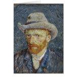 Arte gris de la pintura del sombrero de fieltro tarjeta de felicitación