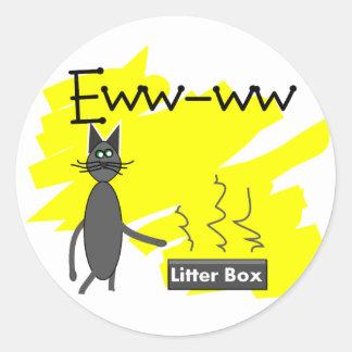 Arte gris del gato--Caja de arena y gato Stinky Pegatina Redonda