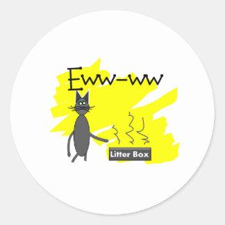 Arte gris del gato--Caja de arena y gato Stinky Etiquetas Redondas
