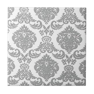 Arte gris elegante del modelo del damasco azulejo cuadrado pequeño