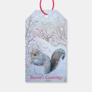 arte gris lindo de la fauna de la escena de la etiquetas para regalos