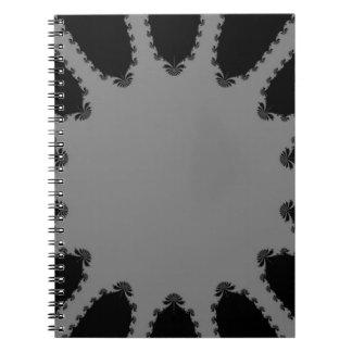 Arte gris y negro del fractal libro de apuntes con espiral