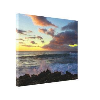 Arte hawaiano de la pared de la puesta del sol de impresion de lienzo