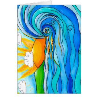 Arte hawaiano de la resaca - la onda grande tarjeta de felicitación