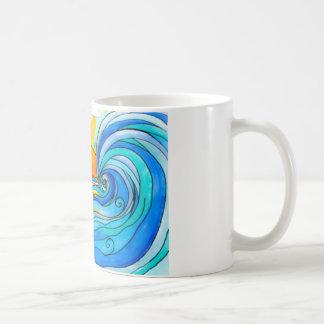 Arte hawaiano de la resaca - la onda grande taza de café