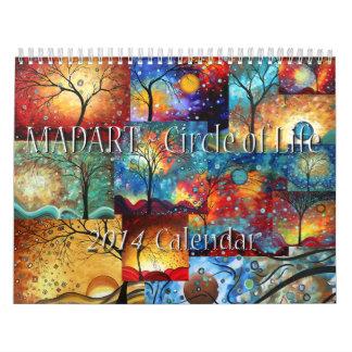 Arte hermoso caprichoso colorido de 2014 calendario