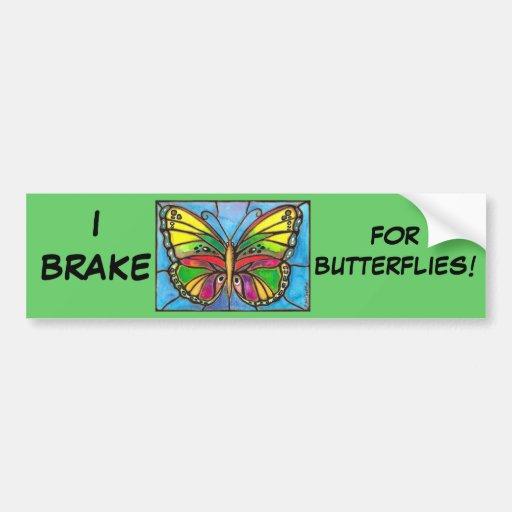 ¡Arte hermoso de la acuarela de la mariposa del vi Etiqueta De Parachoque