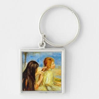 Arte hermoso de la pintura de Renoir de la playa d Llavero Cuadrado Plateado