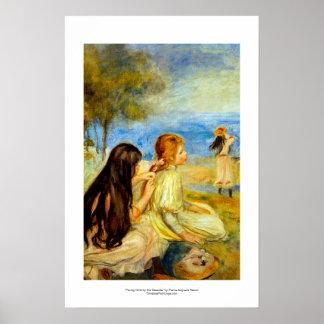 Arte hermoso de la pintura de Renoir de la playa d Póster