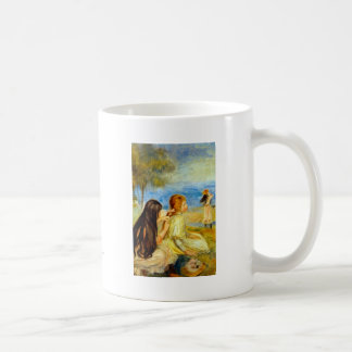 Arte hermoso de la pintura de Renoir de la playa d Tazas De Café