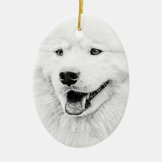 Arte hermoso del perro del samoyedo adorno de navidad