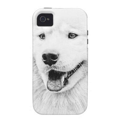 Arte hermoso del perro del samoyedo funda iPhone 4