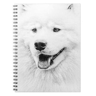 Arte hermoso del perro del samoyedo cuaderno