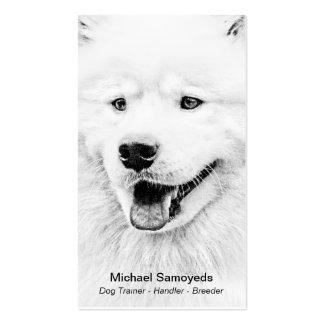 Arte hermoso del perro del samoyedo plantillas de tarjetas de visita