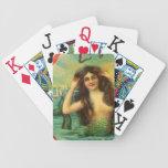 Arte hermoso del vintage de la sirena baraja cartas de poker