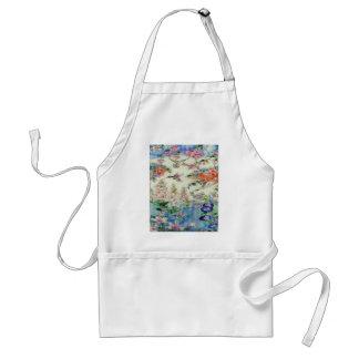 Arte hermoso del vitral de las flores de los colib delantal