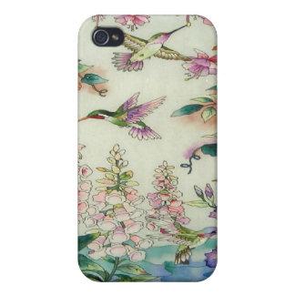 Arte hermoso del vitral de las flores de los colib iPhone 4 cobertura