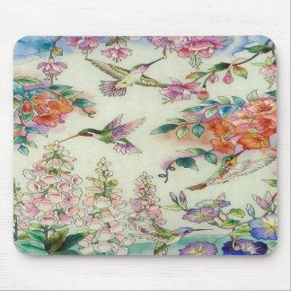 Arte hermoso del vitral de las flores de los colib tapete de ratón