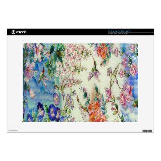 Arte hermoso del vitral de las flores de los colib skins para portátiles