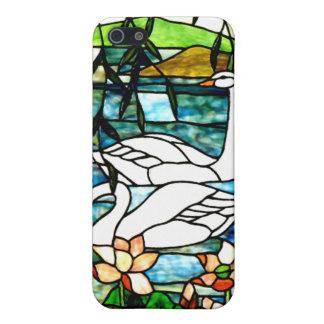 Arte hermoso del vitral de los cisnes iPhone 5 funda