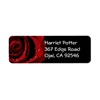 Arte hermoso floral de la flor del rosa rojo etiquetas de remite