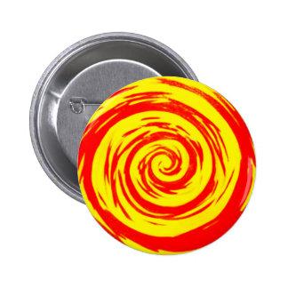 Arte hipnótico anaranjado y amarillo del remolino chapa redonda 5 cm