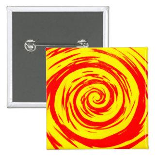 Arte hipnótico anaranjado y amarillo del remolino chapa cuadrada 5 cm