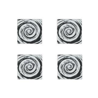 Arte hipnótico blanco y negro del remolino imán de piedra
