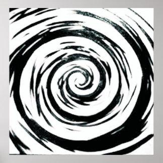 Arte hipnótico blanco y negro del remolino póster