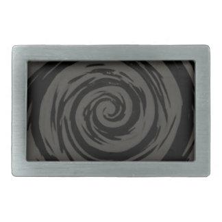 Arte hipnótico gris y negro del remolino hebillas cinturon rectangulares