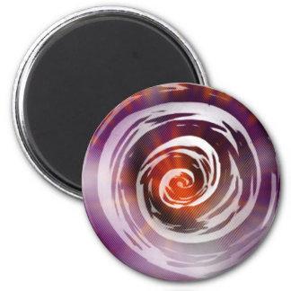 Arte hipnótico púrpura y anaranjado del remolino imán redondo 5 cm