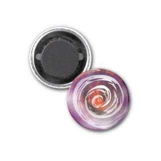 Arte hipnótico púrpura y anaranjado del remolino imán redondo 3 cm