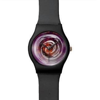 Arte hipnótico púrpura y anaranjado del remolino relojes de pulsera