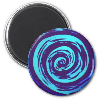 Arte hipnótico púrpura y azul del remolino imán redondo 5 cm
