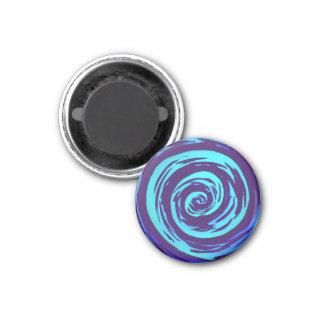 Arte hipnótico púrpura y azul del remolino imán redondo 3 cm