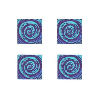 Arte hipnótico púrpura y azul del remolino imán de piedra
