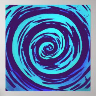 Arte hipnótico púrpura y azul del remolino póster