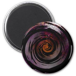 Arte hipnótico púrpura y negro del remolino imán redondo 5 cm
