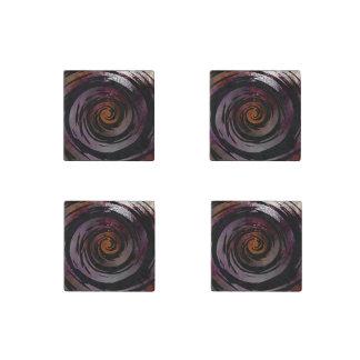 Arte hipnótico púrpura y negro del remolino imán de piedra