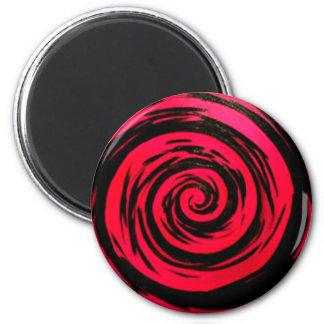 Arte hipnótico rojo enrrollado del remolino imán redondo 5 cm