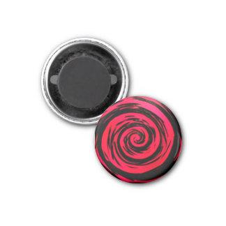 Arte hipnótico rojo enrrollado del remolino imán redondo 3 cm