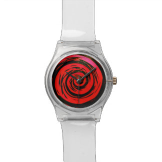 Arte hipnótico rojo y negro del remolino relojes de pulsera
