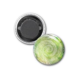 Arte hipnótico verde descolorado del remolino imán redondo 3 cm