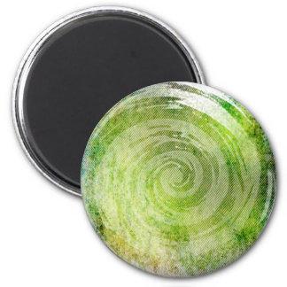 Arte hipnótico verde descolorado del remolino imán redondo 5 cm