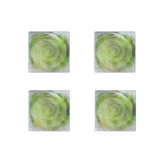 Arte hipnótico verde descolorado del remolino imán de piedra