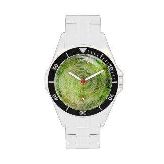 Arte hipnótico verde descolorado del remolino relojes de mano