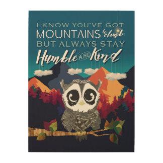 Arte humilde y bueno, del búho y de la montaña cuadros de madera