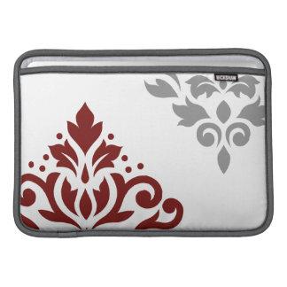 Arte I del damasco de la voluta rojo y gris en Funda MacBook